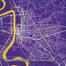 Lsu Campus Map Baton Rouge Louisiana Map Art City Prints