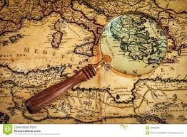 Ancient Map Old Vintage Magnifying Glass On Ancient Map Stock Photo Image