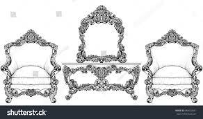 living room furniture set baroque armchair stock vector 685622461