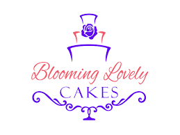 wedding cake logo colorful logo design for blooming lovely cake by