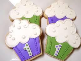 cupcake decorated sugar cookies royal icing green purple white