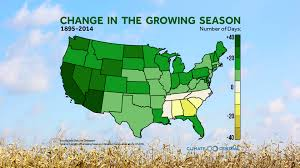 Us Climate Map Change In The Growing Season Climate Central