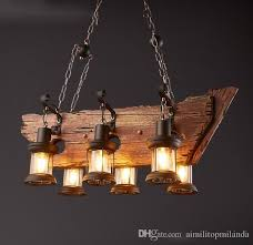 discount loft vintage style creative wood lighting fixture bar