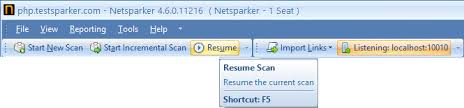 Scan Resume Manual Crawling Of Website Using The Web Browser Netsparker