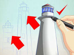 How To Draw A Flag How To Draw A Lighthouse 7 Steps With Pictures Wikihow