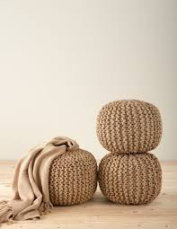 Ottoman Knitted Chic Knitted Design Jute Pouf Ottoman One