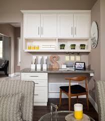 two sided desk home office transitional with beige wall