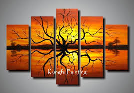 100 painted unframed tree goods wall 5 panel canvas