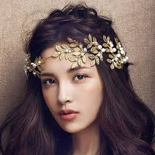 gold hair accessories baroque jewelry 2016 new vintage gold leaf pearl headband hair