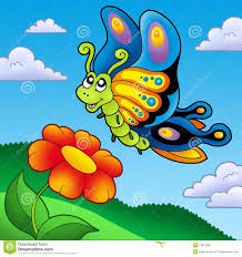 cute butterfly with red flower stock photo image 13072280