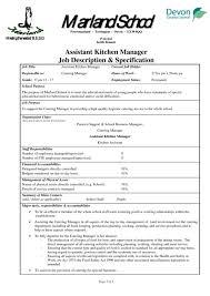 Catering Job Description For Resume Kitchen Manager Resume Kitchen Manager Resume Example Sample