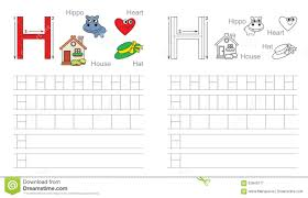 tracing worksheet for letter h stock vector image 62840177