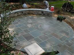 Slate Rock Patio by Stone Patio U0026 Landscape Lighting Project In Potomac Md