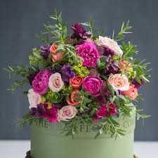 bright garden rose and sweet pea bouquet