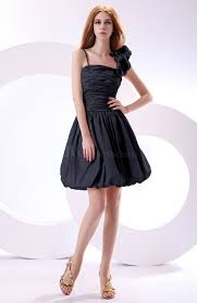 navy blue cute a line spaghetti sleeveless taffeta short wedding