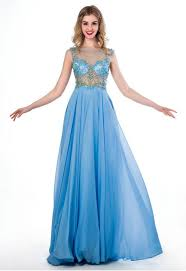a line illusion neckline see through tulle light sky blue chiffon