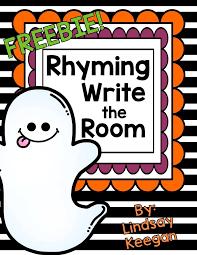 rhyming words write the room freebie halloween for kids