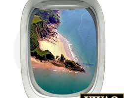 Aviation Home Decor Airplane View 3d Window Decal Green Island Beach Scene