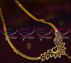 chain pendant necklace images Nl9400 peacock design casual wear chain gold plated ad short necklace JPG