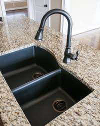 Sink Fixtures Kitchen Black Granite Composite Sink With Kohler Rubbed Bronze Faucet
