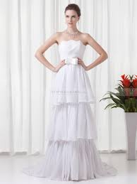 strapless chiffon wedding dress with layered skirt and bow sash