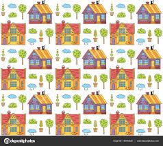 cute houses pattern u2014 stock vector olizabet 144703229
