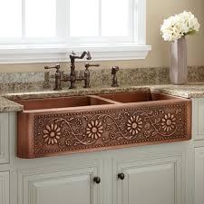 kitchen attractive copper kitchen sinks lowes with brown flower