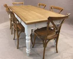 OAK AND PINE TABLE COUNTRY FARMHOUSE KITCHEN DINING TABLE PAINTED BASE - Farmhouse kitchen table