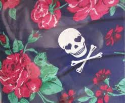 betsy johnson blue floral flower cotton dandy skull 3 pc comforter