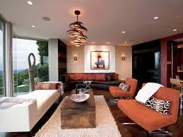 Lounge Pendant Lights Unique Wooden Circular Pendant Lighting With White Wool Rug For