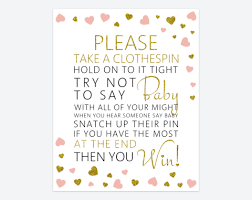 clothespin baby shower blush and gold hearts baby shower bingo baby shower