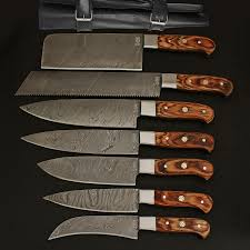 damascus kitchen cutlery set set of 7 black forge knives