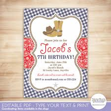 cowboy birthday party invitation template red blue paisley boy