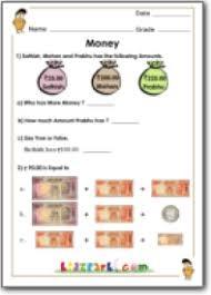 money handling for class 1 math money worksheets for class 1
