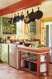 kitchen style open shelves butcher block red island cottage