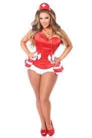 Corset Halloween Costumes Size Red Drawer Size 5 Pc Flirty Nurse Corset Costume