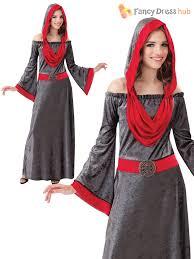 ladies gothic hooded vampire halloween fancy dress costume women