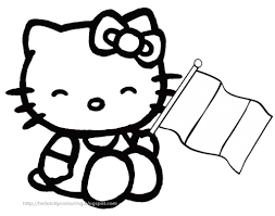 hree cute picture color kitty holding flag depnding bebo