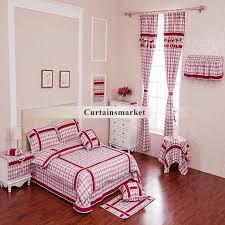 Dark Pink Bedroom - style plaid design dark pink curtains