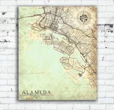 Vintage World Map Canvas by Alameda Ca Canvas Print California Ca Vintage Map Alameda City
