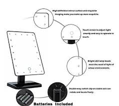 black touch control lighted makeup mirror new version flymei touch screen 20 led lighted makeup mirror with