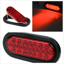 flush mount tail lights 1pcs oval red stop turn tail light flush mount 6 inch 24 diodes for