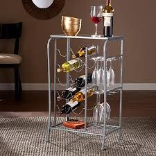 southern enterprises kaufman wine rack storage table silver