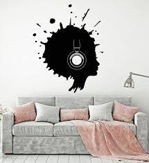 vinyl wall decal blot woman music headphones art decor stickers