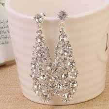 wedding earrings drop silver shining clear teardrop wedding earrings for brides women