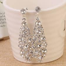 wedding earrings drop silver shining clear teardrop wedding earrings for brides women