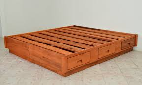 King Size Bed Frame With Storage Drawers Furniture Brown Wooden Bed Frame With Storage Drawer As Well As