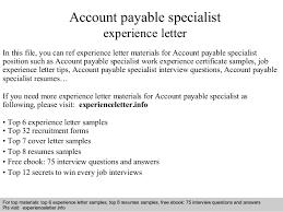 Accounts Payable Specialist Resume Sample Account Payable Specialist Experience Letter 1 638 Jpg Cb U003d1408663448