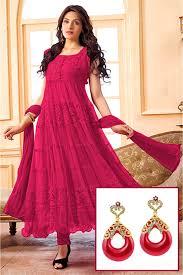 pink colour combination dresses of net semi stitched anarkali salwar kameez in dark pink colour and