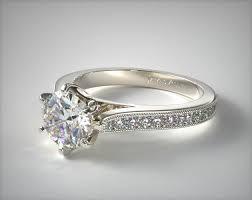 what is milgrain pave taper milgrain engagement ring 14k white gold 17635w14